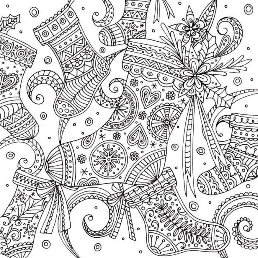 Stockings Christmas Adult Colouring Line Work