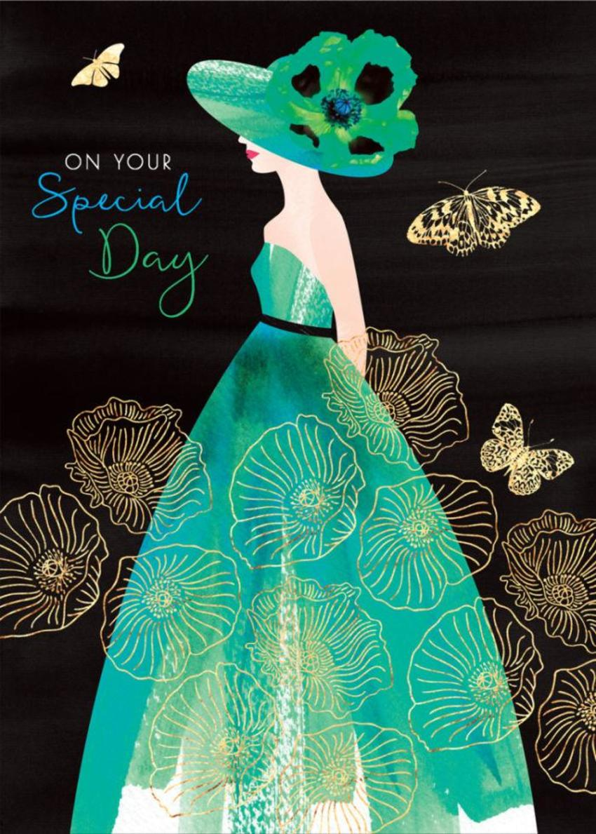 Female-birthday-girlfriend-wife-mothers-day-sister-friend-anniversary-fashion-illustration-lady-with-poppy-hat-aqua-dress