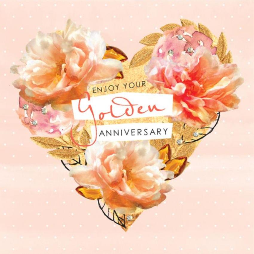 Golden-anniversary-valentines-day-love-flowers-and-gold-heart