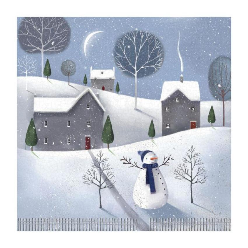 Winter Scene With Snowman