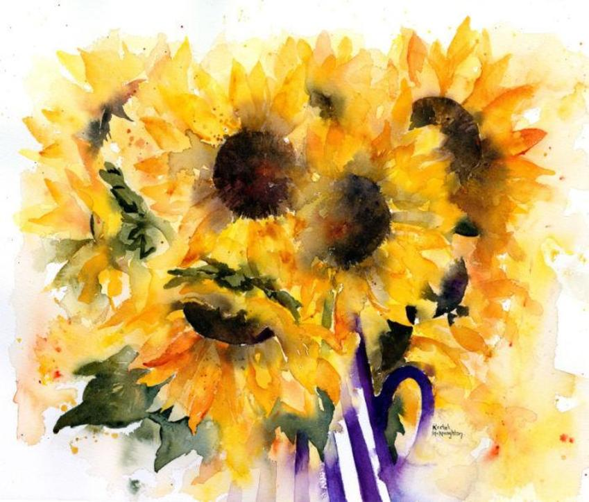 Sunflowers In Striped Jug