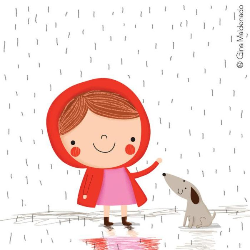 Girl In The Rain With Dog - GM