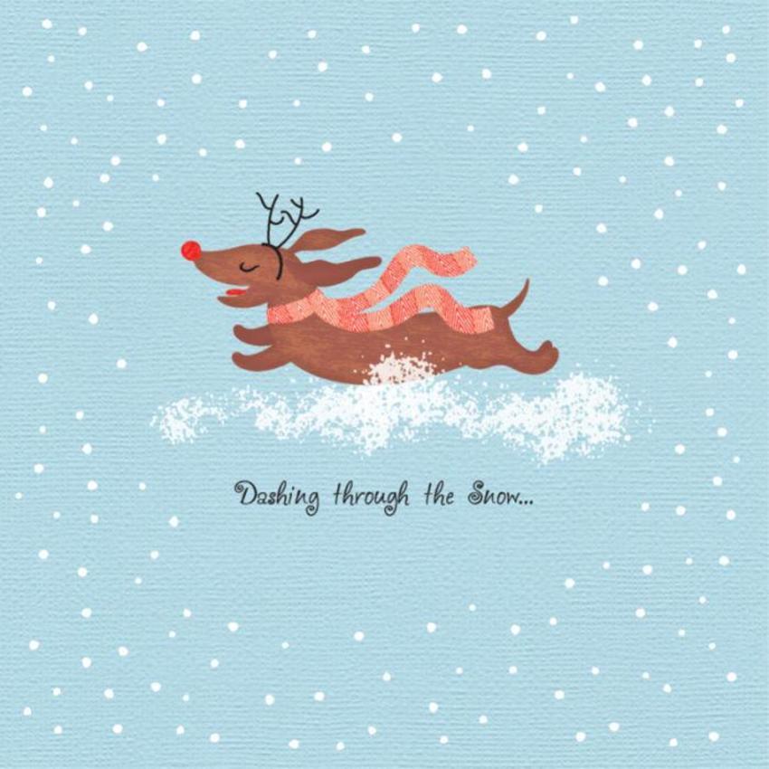 Christmas Dashound Dachshund Dashing Through The Snow Cute Christmas