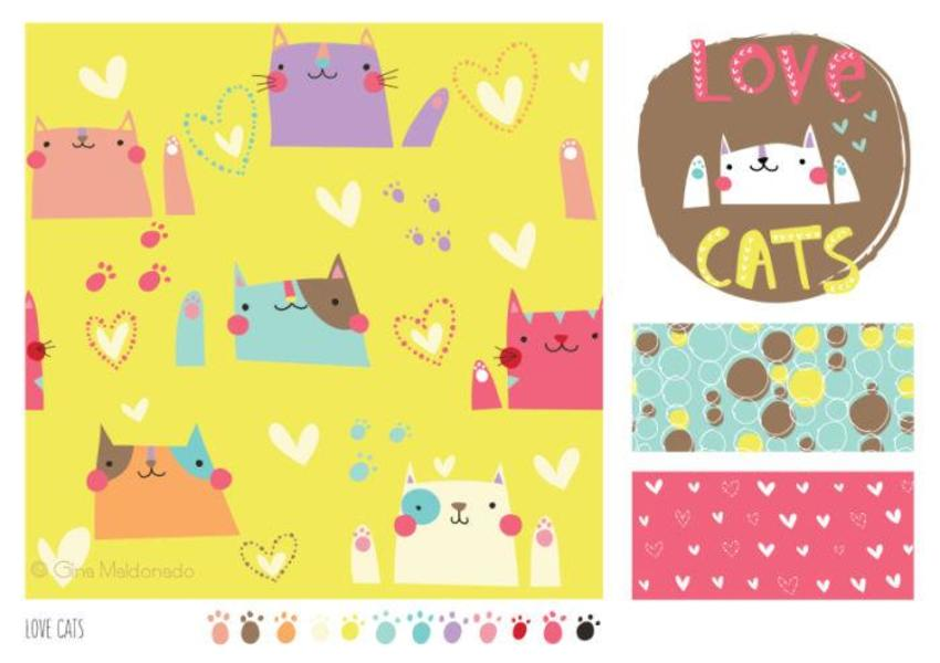 Love Cats Pattern - GM