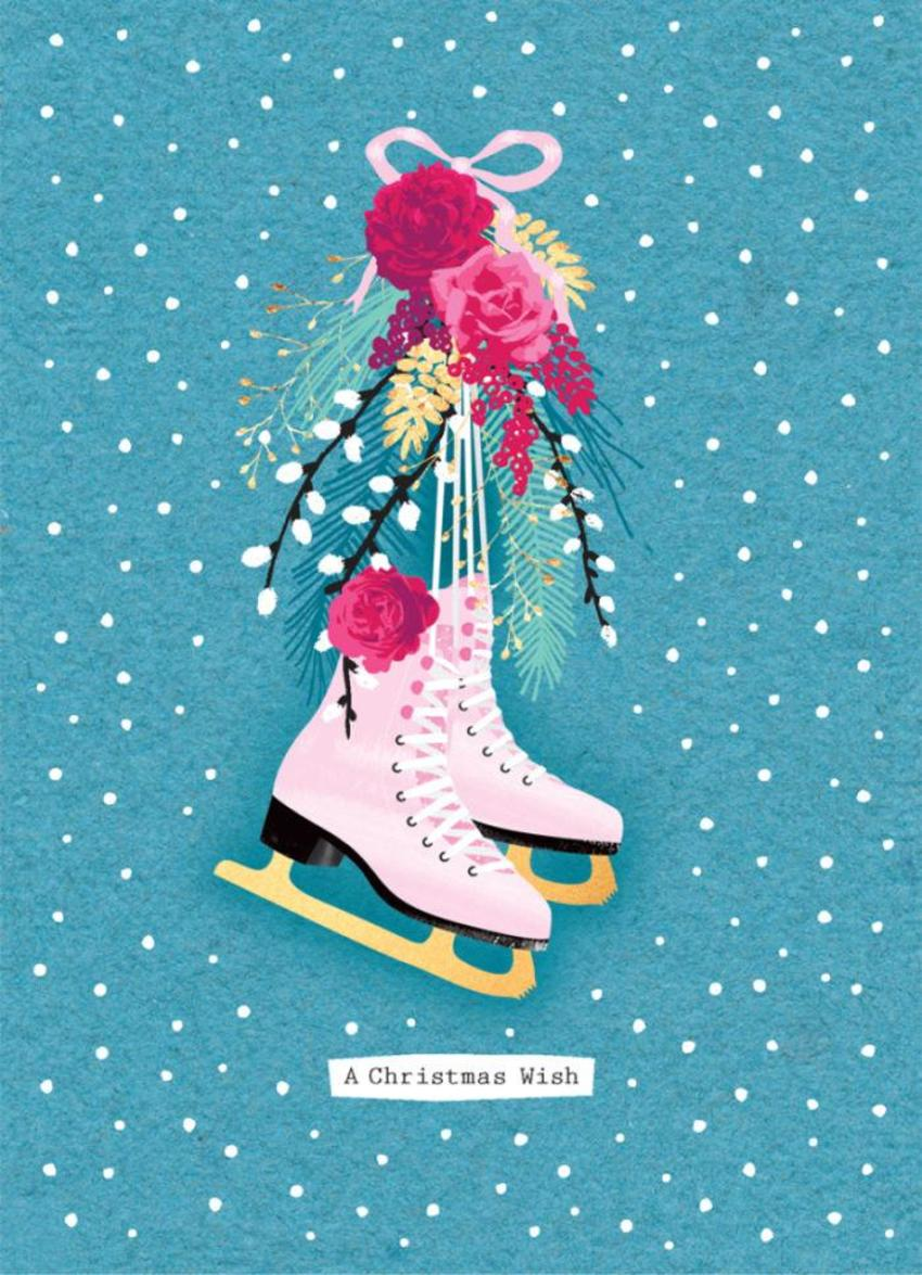 Christmas-iceskates-with-flowers-and-snow-5x7
