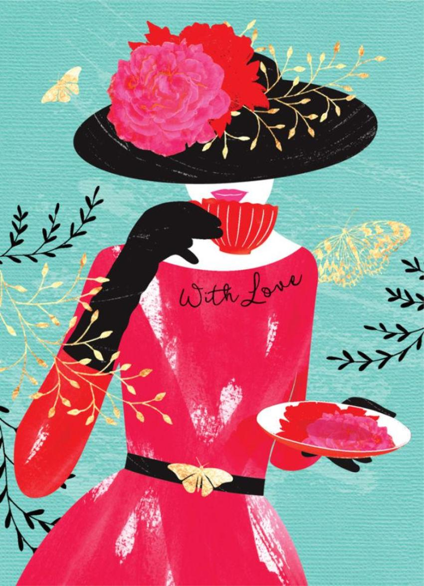 Fashion-illustration-female-birthday-wife-girlfriend-anniversary--lady-in-red-dress-5x7
