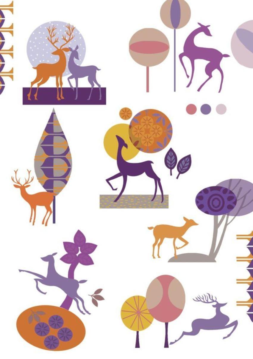 Graphic Deer Pattern