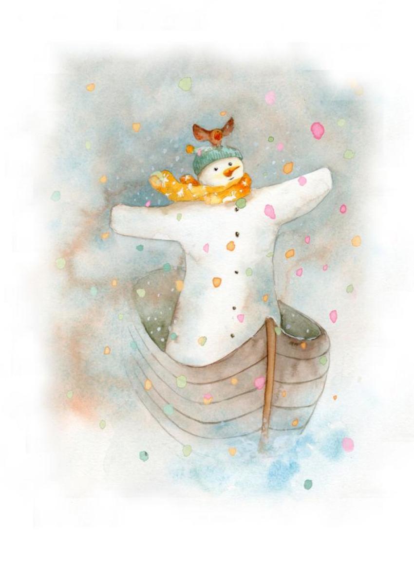 Snowman Robin Rainbow Snow Titanic