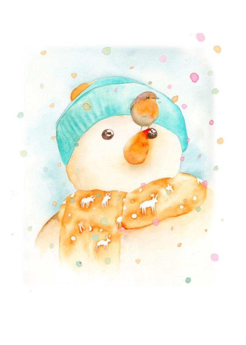 Snowman Robin Rainbow Snow 200 2