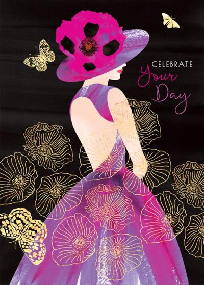 female-birthday-girlfriend-wife-mothers-day-sister-friend-anniversary-fashion-illustration-lady-with-poppy-hat-purple-dress