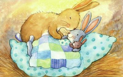 mummy-rabbit-putting-baby-bunny-to-bed-gailyerrill-portfolio