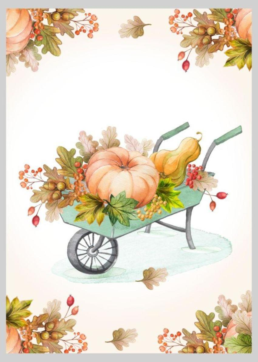 Autumnal Fall Thanksgiving Wheelbarrow