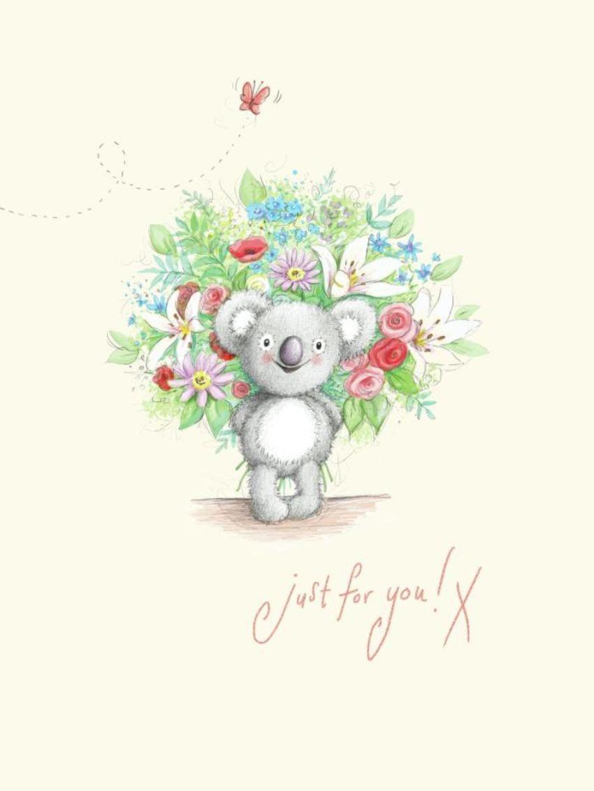 Gail Yerrill Katy Koala Bunch Of Flowers Cute001