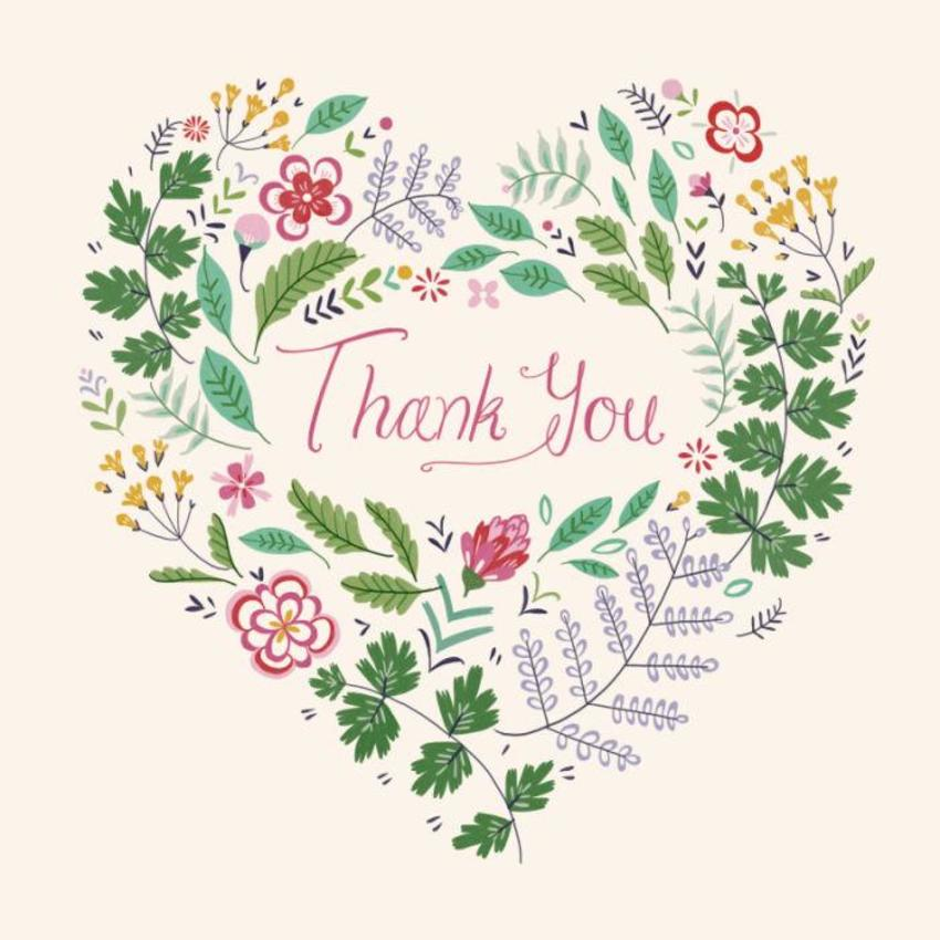 Floral Heart Thank You Card