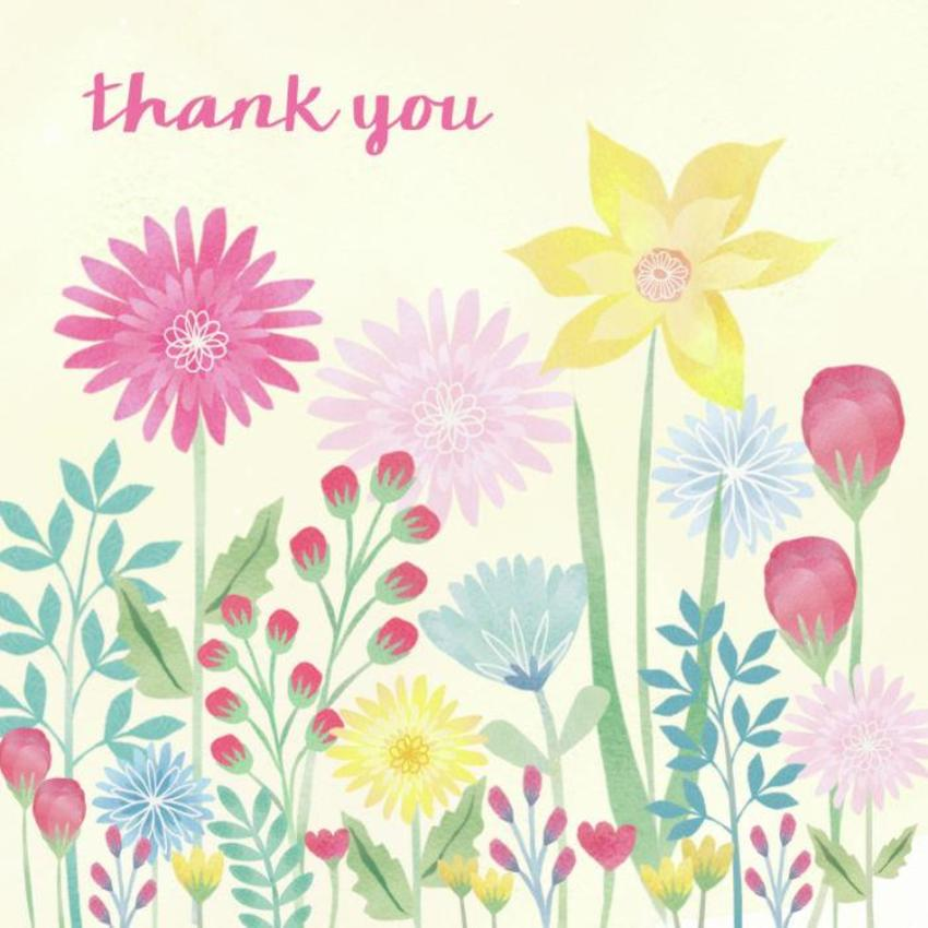 Watercolour Flowers Thank You