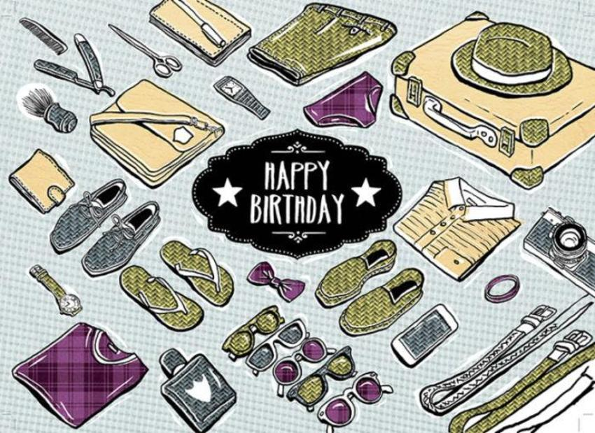 Mhc_male_happy_birthday_icons_luggage_shoes_bowtie_shirt_shaving_bag_camera_sunglasses_watches
