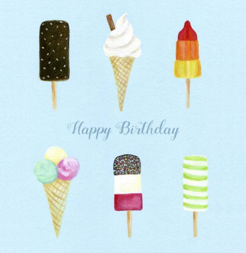 Ice Cream Lolly Summer Birthday Vintage