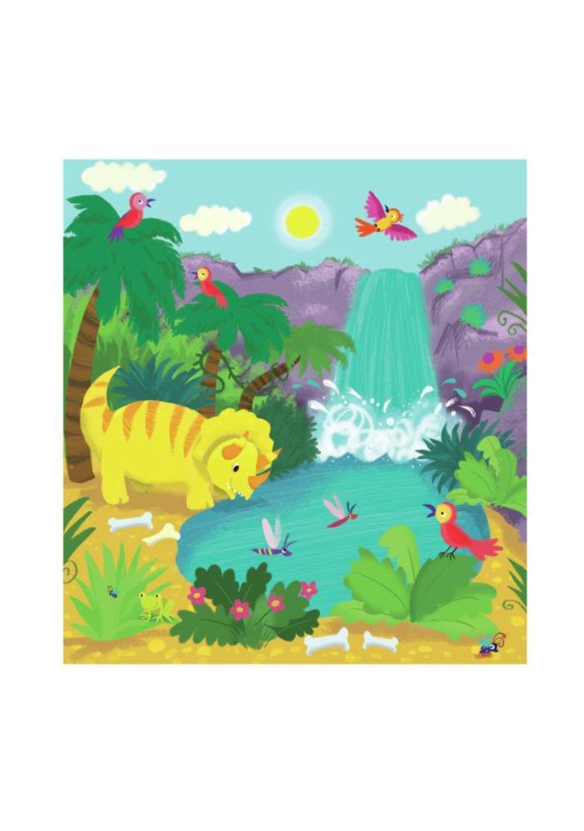 Dino At Waterfall Melanie Mitchell