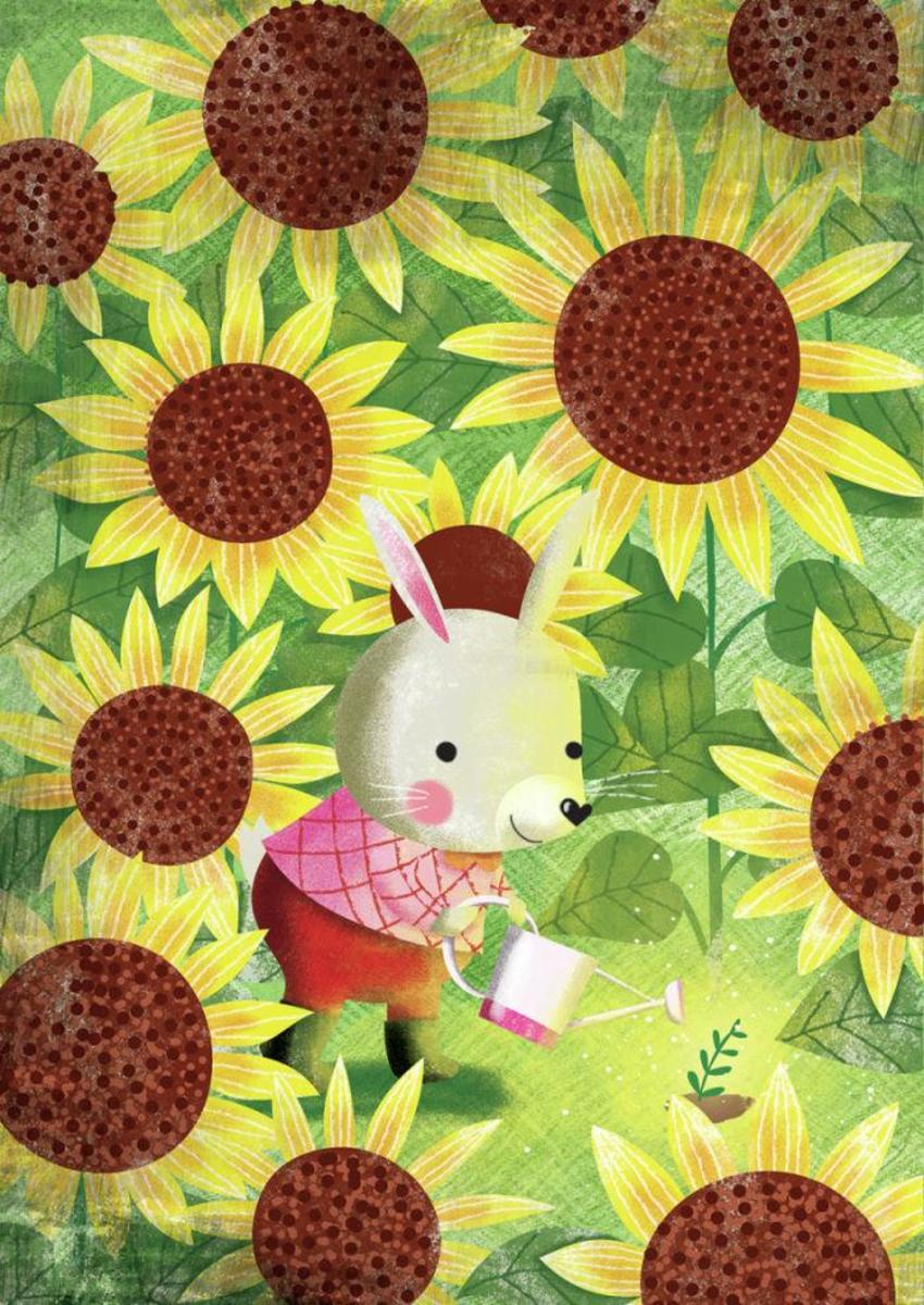 Rabbit In Sunflower Garden - Gina Maldonado