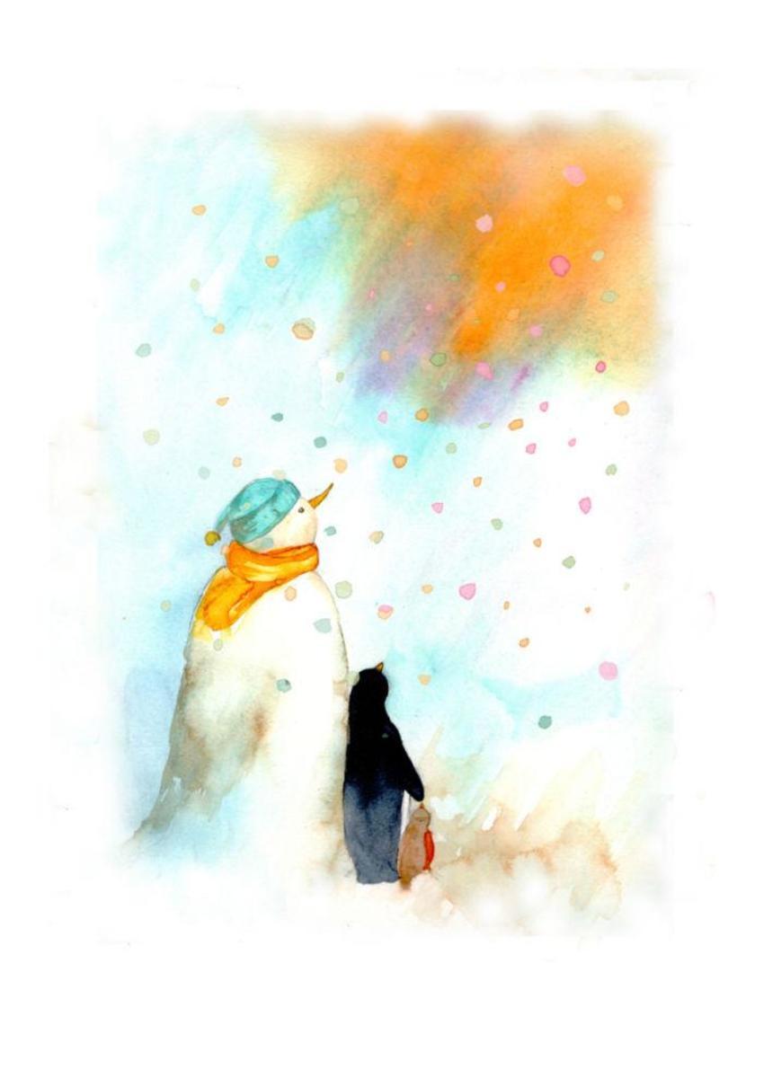 Snowman Penguin Robin Aurora