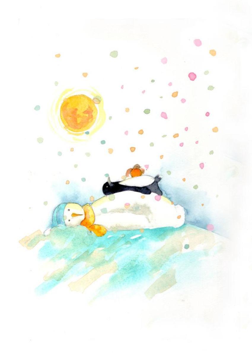 Snowman Penguin Robin Sun
