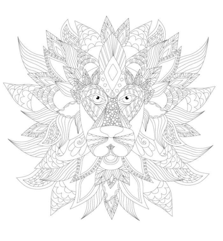 Lion Mask Adult Colouring