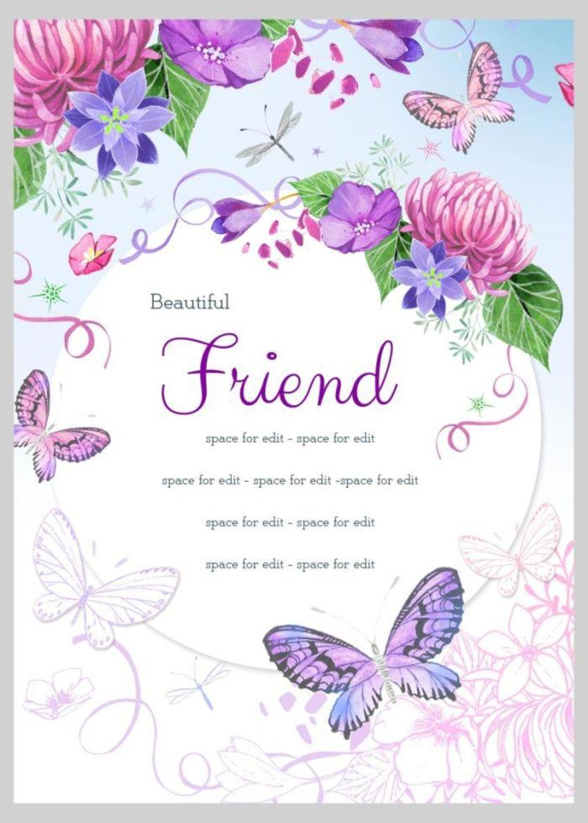 Friend Floral Butterflies 5