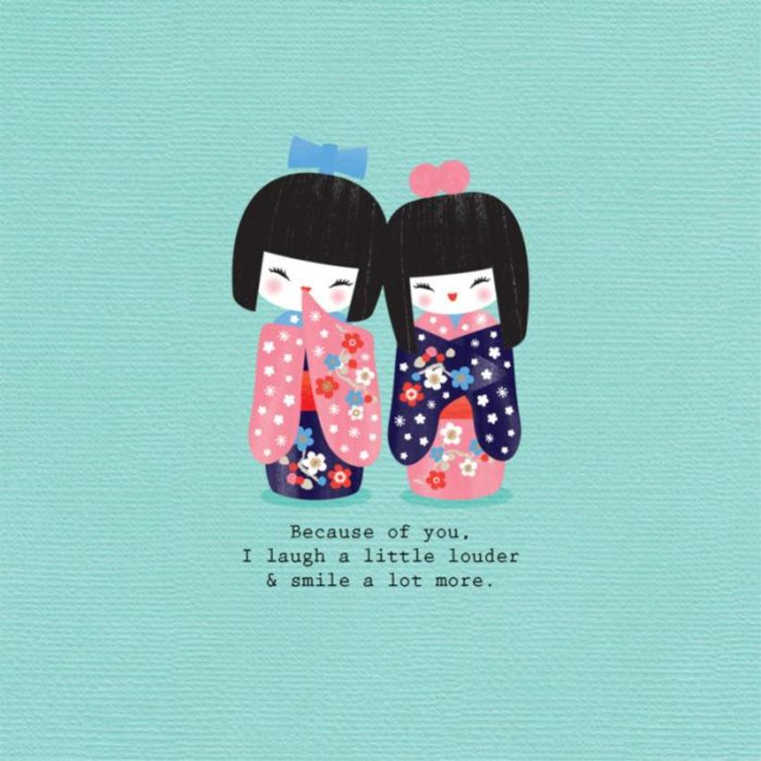 Friend-sister-birthday-someone-special-inspirational-quote-cute-japanese-kokeshi-dolls