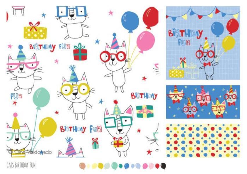 Cats Birthday Fun Pattern - GM