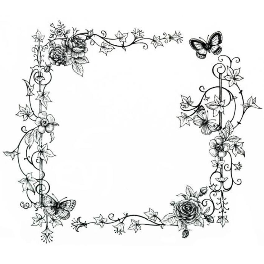 LA - Black And White Floral Border