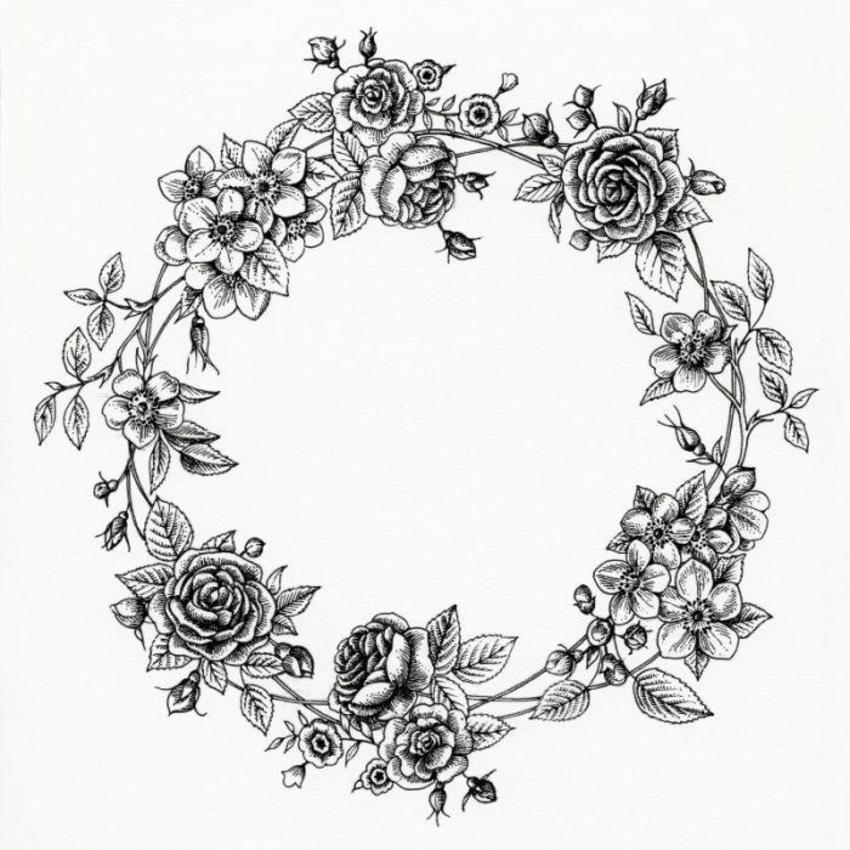 LA - Black And White  Floral Wreath