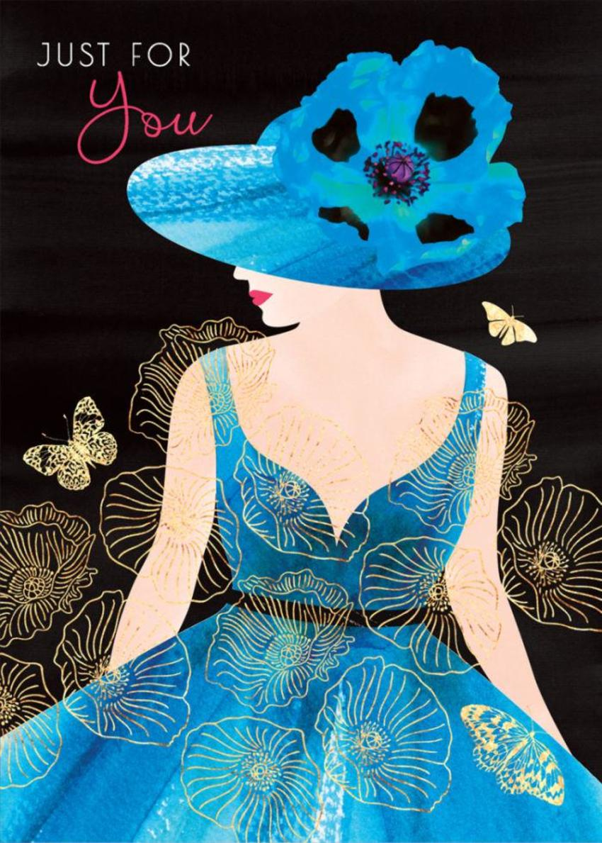 Female-birthday-girlfriend-wife-mothers-day-sister-friend-anniversary-fashion-illustration-lady-with-poppy-hat-blue-dress
