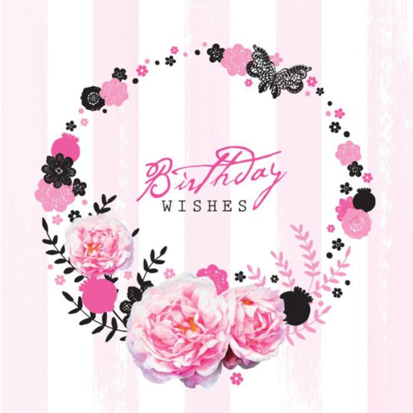 Female Birthday Mothers Day Flowers Floral Wreath On Stripe Background