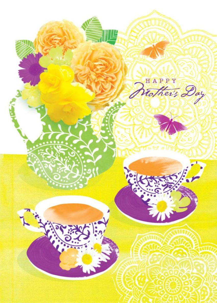 Female Birthday Mothers Day Friend Birthday Floral Flowers Teapot And Teacups