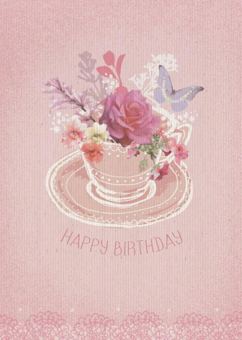 Tea Cup Floral Birthday