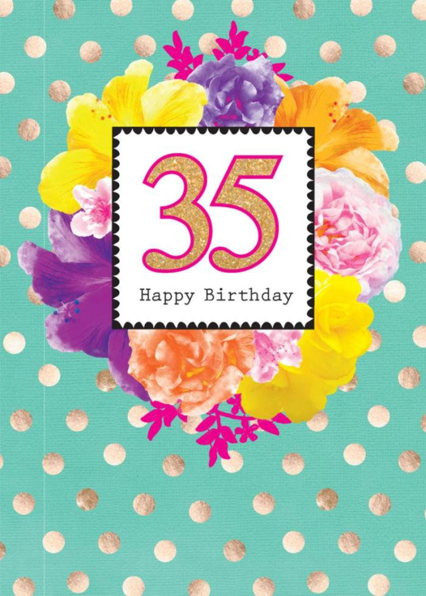 Female Birthday Milestone Age Birthday Big Number Tropical Flowers Floral With Gold Spots 1