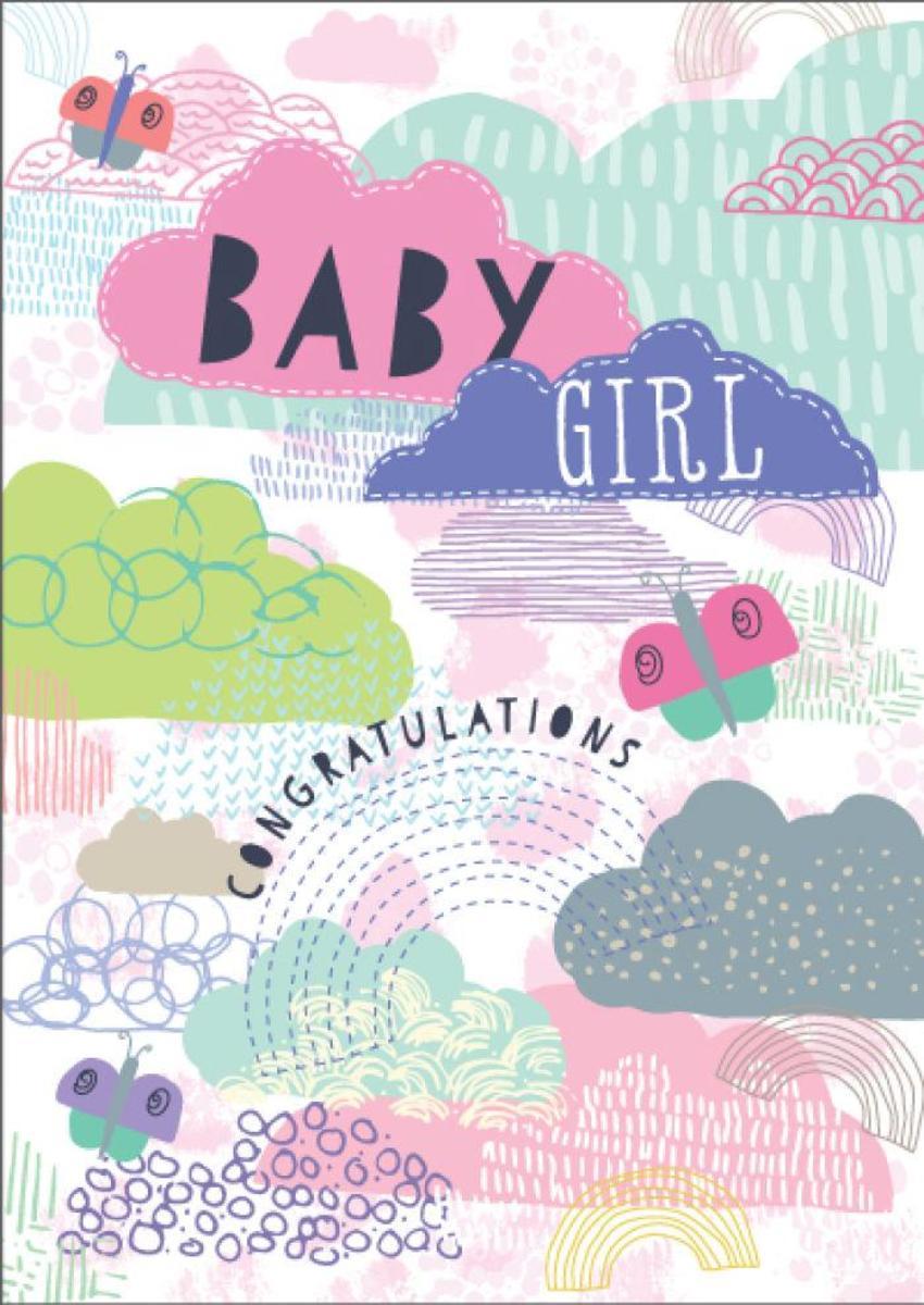 New Baby Girl Clouds Butterflies
