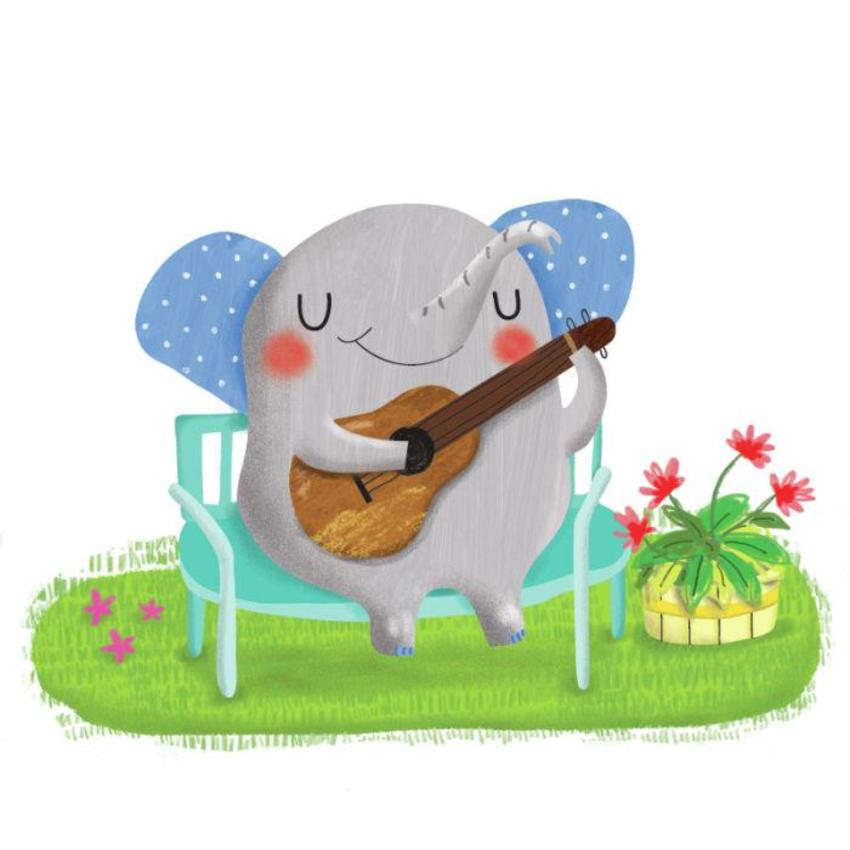 Elephant Playing Guitar - GM