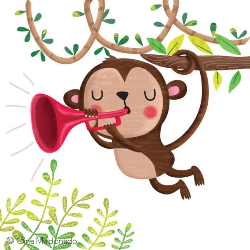 Monkey Playing Trumpet - GM