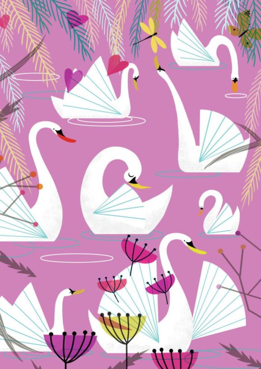 Retro Swans Pink