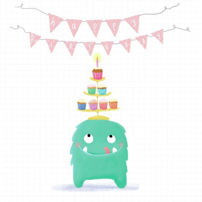 Monster With Cupcakes