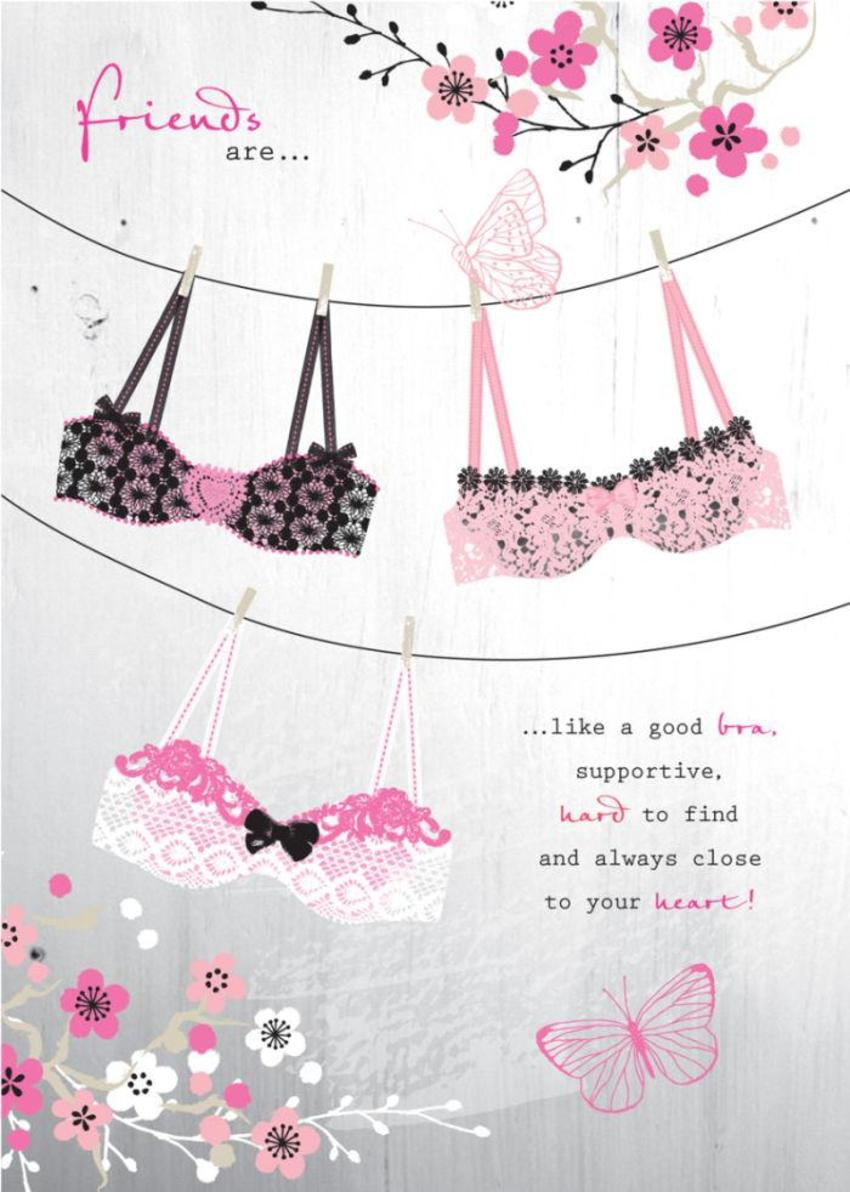 Female Birthday Friend Happiness Quote Frilly Bras On Washing Line