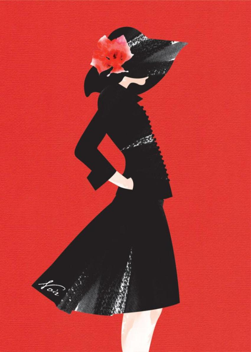 Female Wife Birthday Wife Anniversary Fashion Illustration Lady In Black Dress 1