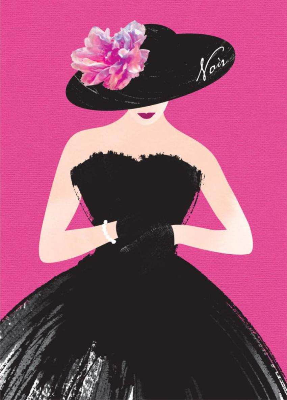 Female Wife Birthday Wife Anniversary Fashion Illustration Lady In Black Dress 3