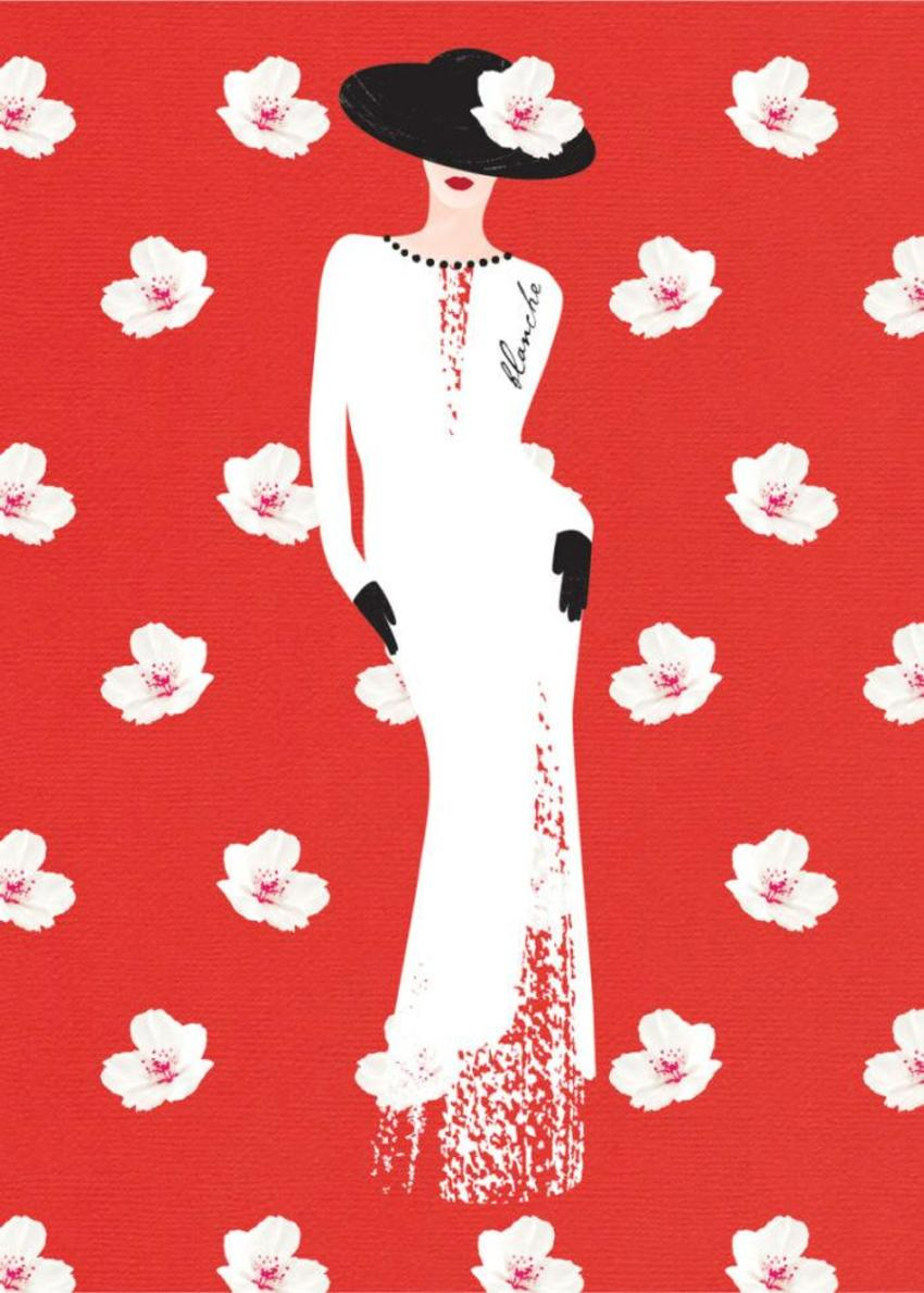 Female Wife Birthday Wife Anniversary Fashion Illustration Lady In White Dress 1