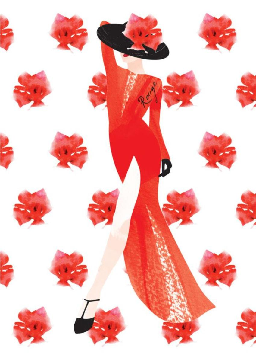 Female Wife Birthday Wife Anniversary Fashion Illustration Lady In Red Dress 2