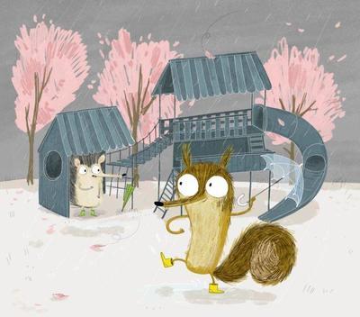 park-animals-cute-characters-squirell-hedgehog-rain-rainny-playground-cute-trees-copia