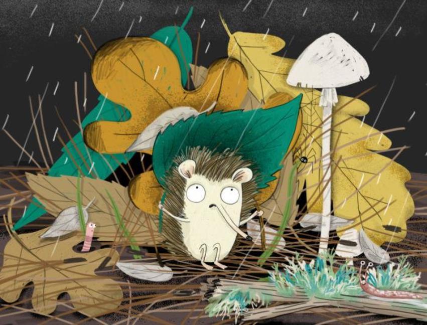 Hedgehog Character Rain Rainy Mushroom Leaves Autumn Fall Forest Worm Spider Bugs Snail Cute