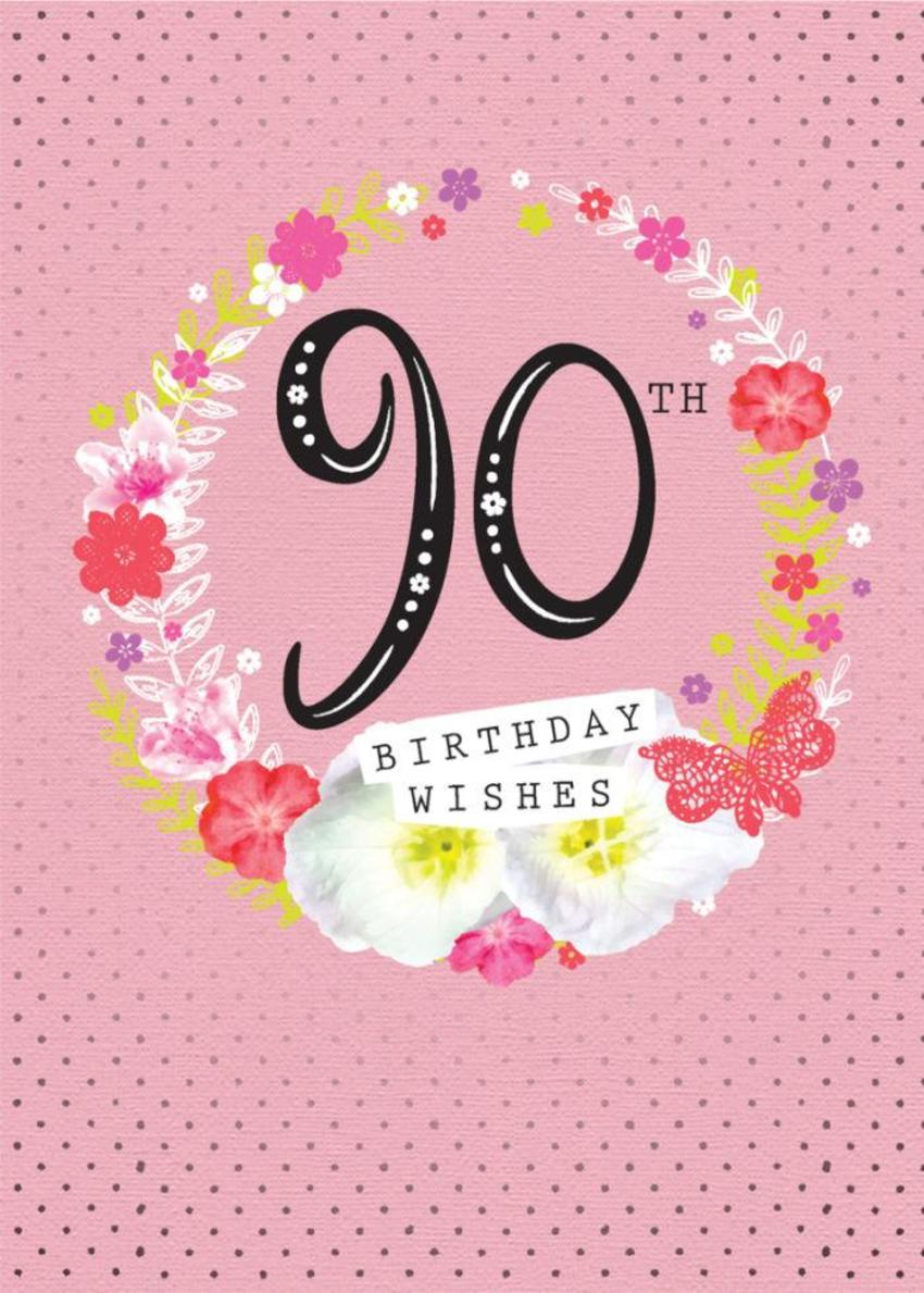 Age Birthday Milestone Big Number 90 90th In Floral Wreath