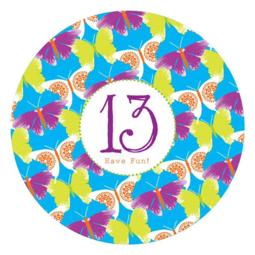 Female Birthday Milestone Age Birthday Big Number Tropical Butterflies Disc